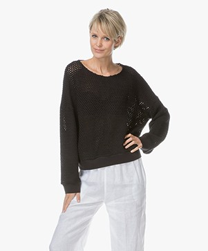 LEÏ 1984 Colombine Ajour Knitted Pullover - Black