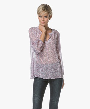 Repeat Chiffon Blouse with Floral Print - Violet