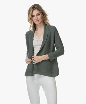 Repeat Open Shawl Collar Cardigan in Cotton - Khaki