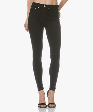 Rag & Bone / Jean High Rise Ankle Skinny Jeans - Black