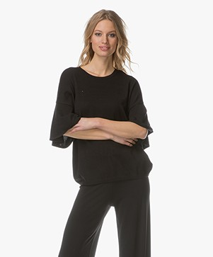 Repeat Pullover with Flared Sleeves - Black