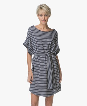 American Vintage Mumymoon Striped Jersey Dress - Lead Striped White