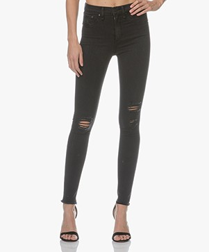 Rag & Bone / Jean High Rise Skinny Jeans - Night With Holes