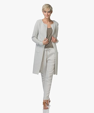 Sibin/Linnebjerg Sandra Long Rib Cardigan - Light Grey Melange
