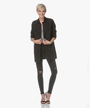 Majestic Filatures Straight Linnen Blazer Coat - Black
