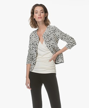 Kyra & Ko Jaimie Jacquard Animal Print Jacket - Black