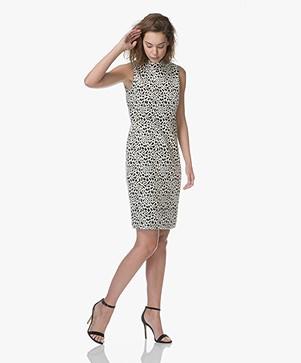 Kyra & Ko Busra Jacquard Animal Print Dress - Black