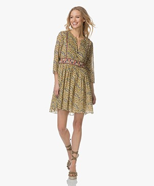 ba&sh Rius A-line Dress with Print - Olive Green/Multicolored
