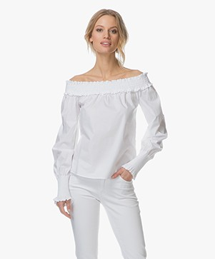 HUGO Enuka Poplin Off-shoulder Blouse - Open White