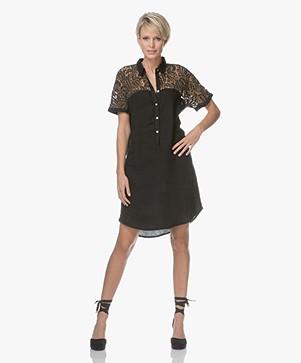Belluna Steff Linen Dress with Lace - Black