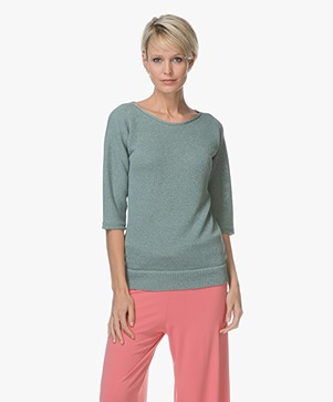 Belluna Weekend Half Sleeve Viscose Blend Pullover - Green