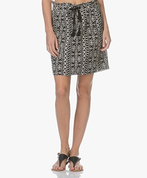 Indi & Cold Embroidered Viscose Skirt - Carbon