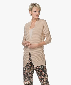 Belluna Atlanta Open Rib Knit Cardigan - Beige
