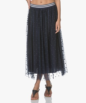 Josephine & Co Luc Tulle A-line Skirt with Dot Design - Navy