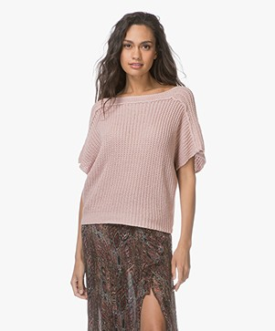 BY-BAR Ulla Short Sleeve Sweater- Dusty Pink