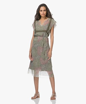 Indi & Cold Chiffon Printed Dress - Militar