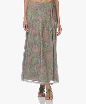 Indi & Cold Chiffon Printed Maxi Skirt - Militar