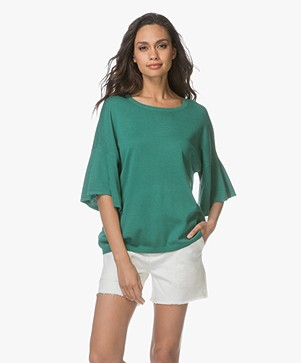 Repeat Pullover with Flared Sleeves - Groen