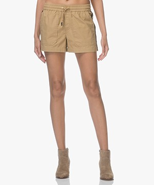 Zadig & Voltaire Paro Cotton Side Stripe Shorts - Sable