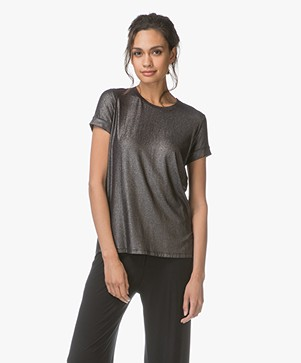 Majestic T-shirt with Shimmering Finish - Métal Black