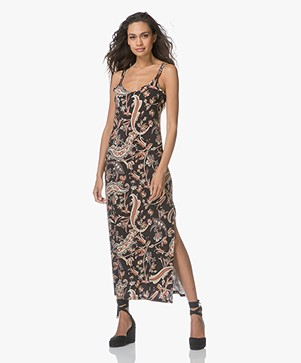 no man's land Jersey Dress in Paisley Print - Black