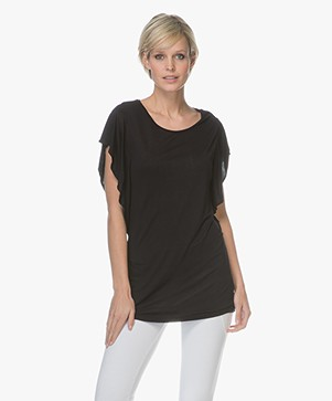 BRAEZ Titty T-shirt with Flounce Sleeves - Midnight Blue