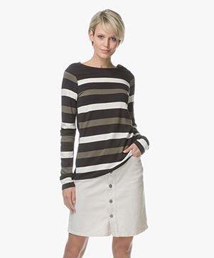 Denham Stealth Striped Long Sleeve - Green Stripe