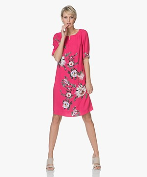 Kyra & Ko Short Sleeve Floral Print Dress - Fuchsia