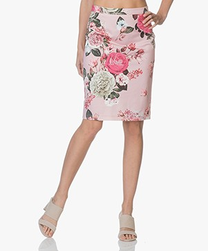 Kyra & Ko Lobke Floral Print Pencil Skirt - Pink