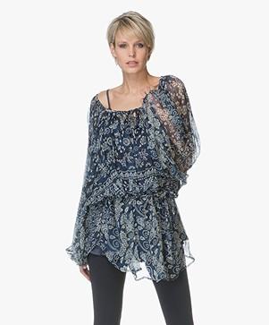 Mes Demoiselles Bogor Floral Tunic Blouse - Blue Combo