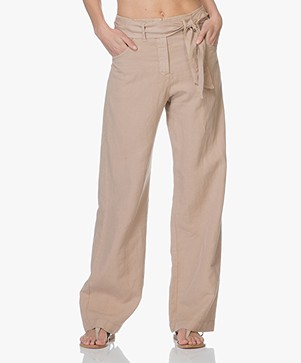 no man's land Wide Leg Paper Bag Pants - Desert