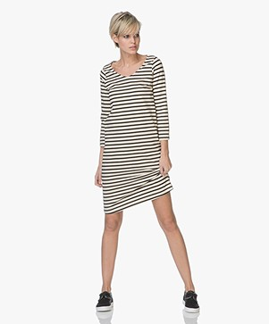no man's land Knit Striped Dress - Core Black
