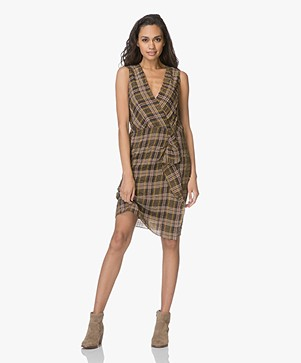 Vanessa Bruno Itana Checkered Dress Silk Blend - Safari