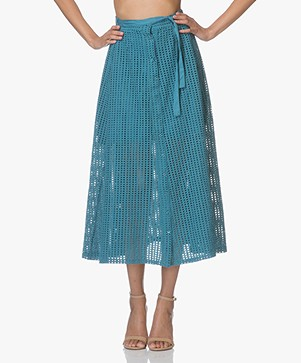 LEÏ 1984 Marinette Embroidered A-line Midi Skirt - Emerald