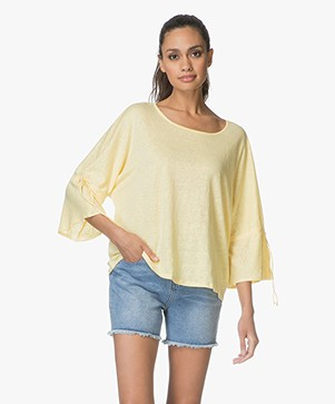 Repeat Linen T-shirt with Drawstring Sleeves - Light Yellow