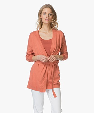 Marie Sixtine Adriana Half Long Belted Cardigan - Terracotta