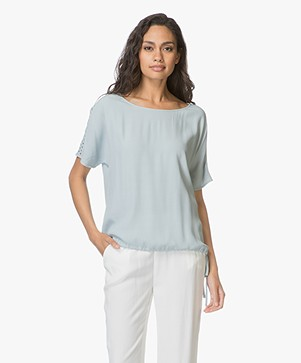 no man's land Crêpe Korte Mouwen Blouse - Aquamarine