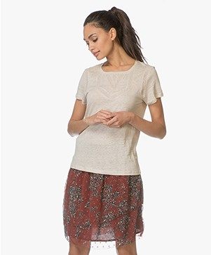 indi & cold Linen T-shirt met Lace - Arena