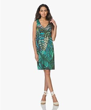 Kyra & Ko Hella Sleeveless Dress with Jungle Print - Turquoise