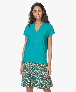 Kyra & Ko Pien V-hals T-shirt in Viscose - Turquoise