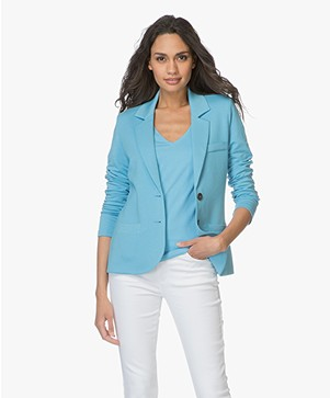 Repeat Getailleerde Jersey Blazer - Aqua
