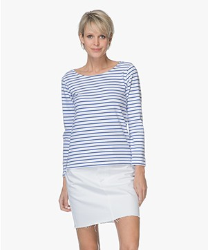 Plein Publique Striped Long Sleeve L'Aimee - White/Cobalt