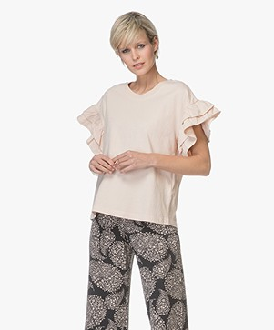 Current/Elliott The Carina T-shirt met Volants - Cream Tan