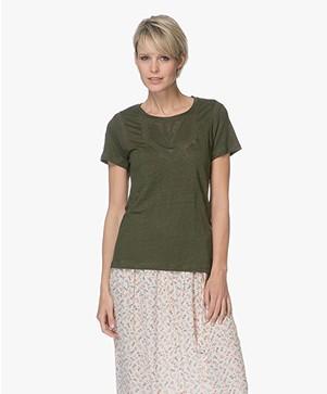 indi & cold Linnen T-shirt met Kant - Militar