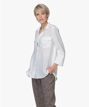 Repeat Long Linen Blouse - White