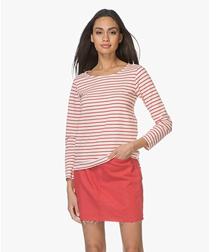 Plein Publique Striped Long Sleeve L'Aimee - Ecru/Red