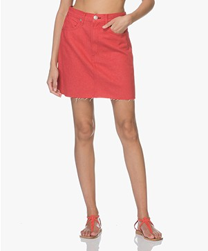 Rag & Bone Moss Denim Rok - Bull Red