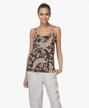 no man's land Viscose Print Top - Zwart