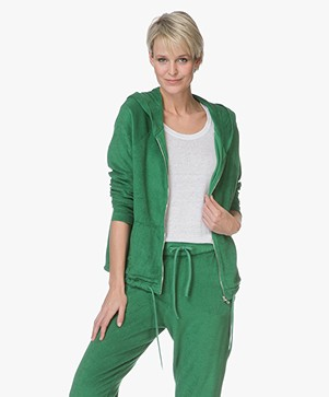 Majestic Filatures French Terry Vest met Capuchon - Groen
