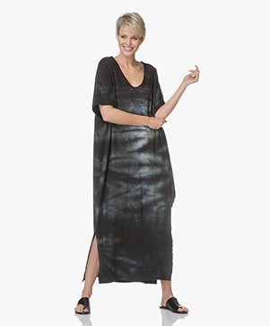 Majestic Tie-Dye Oversized Maxi Dress - Black/Army